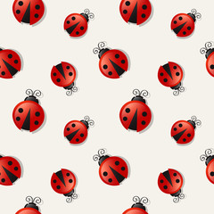 Seamless background with ladybugs. Vector illustration.