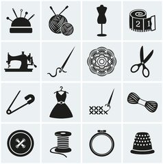 Sewing and needlework icons. Vector set.