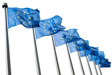 Wall Mural - European Union flags isolated on white