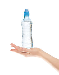 Hand hold bottle of drinking water o