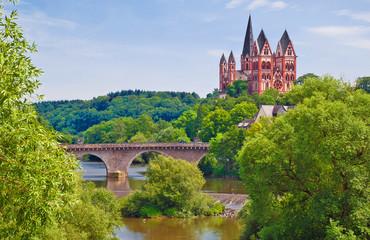 Limburger Dom und Alte Lahnbrücke mit wilder Flusslandschaft