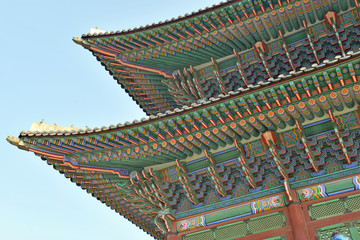 Tile Roof Detail of Traditional Korean Temples, Seoul, Korea