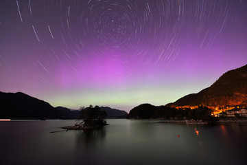 Aurora and Star Trails at Furry Creek