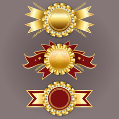 Best quality emblem. Vector champion medals. Set of gold and red