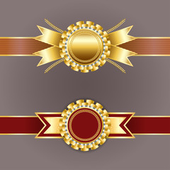 Vector champion medals. Best quality emblem. Set of gold and red