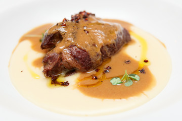 Stewed veal with potato mash