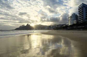 Ipanema Beach Rio de Janeiro Scenic Sunset Reflection