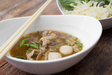 pork noodle with soup in thailand