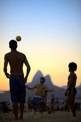 Beach Football Sunset Silhouettes Playing Altinho Rio Brazil