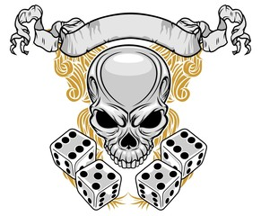 skull with dice