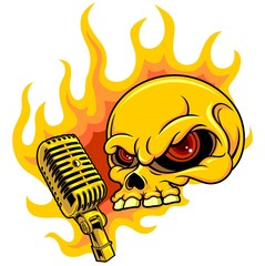 skull with microphone and fire