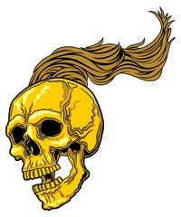 skull with long hair