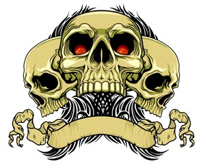 brown skulls with scroll