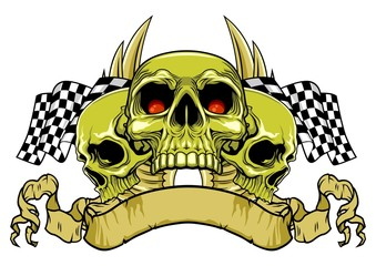 green skulls with flags