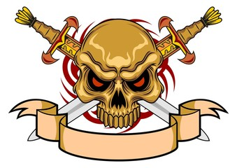 skull with swords and scroll
