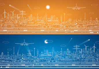 Airport panorama, vector city infrastructure