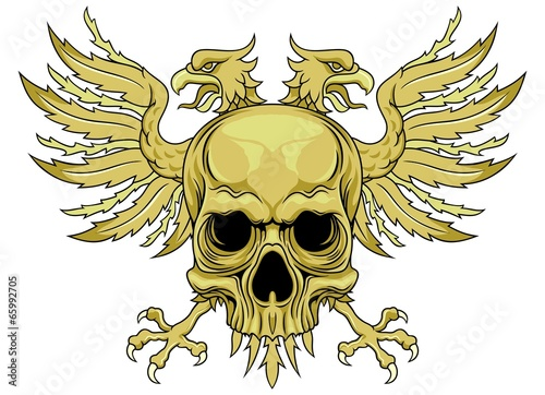 Two Headed Eagle With Skull