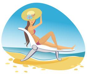 vector woman brunette on the beach