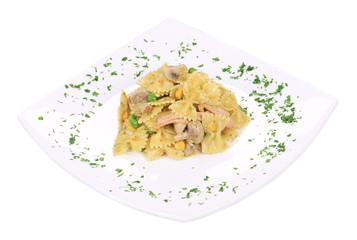 Italian pasta farfalle with mushrooms.