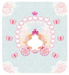 carriage- vintage floral wedding invitation
