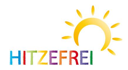 Hitzefrei - Sonne und bunte Buchstaben