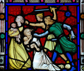 Fototapete - Massacre of the innocents in stained glass