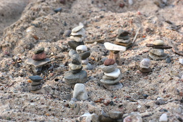 Stone piles at the beach.