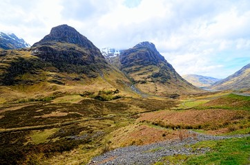 Highland landscape of Glen Coe during spring, Scotland