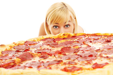 Fototapete - Woman and pizza