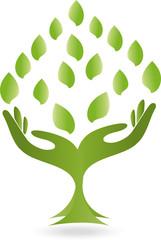 Logo, Hände, Blätter, Heilpraktiker