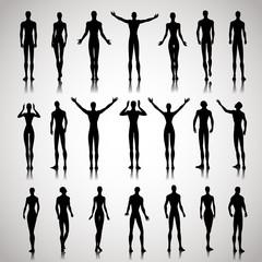Illuminated people silhouettes