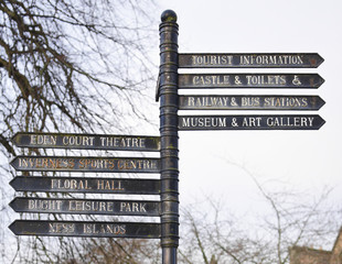 Signpost to different attractions in Inverness, Scotland