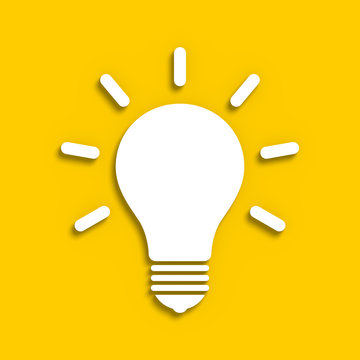 Sketchy electric bulb on a yellow background