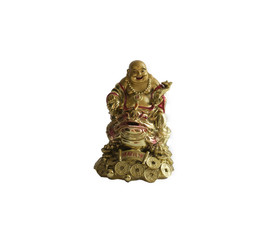 golden buddha symbol feng shui on a white background