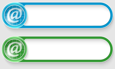 blue and green vector abstract buttons with email icon