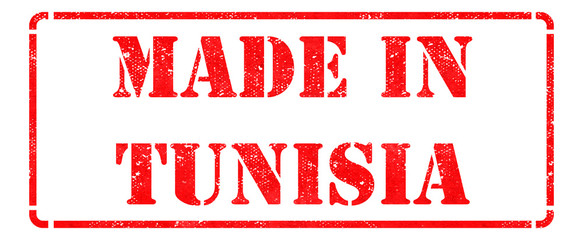 Made in Tunisia- inscription on Red Rubber Stamp.