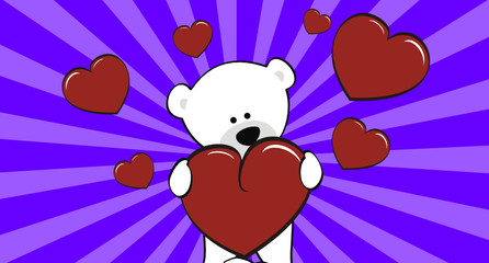 polar bear cartoon love wallpaper vector