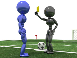 Referee shows a  yellow card to the Player №1