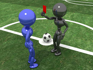 Referee shows a red card to the Playe №2