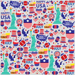 4th of July, American Independence Day seamless