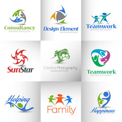 Set of Icons for Corporate Symbol Design Template