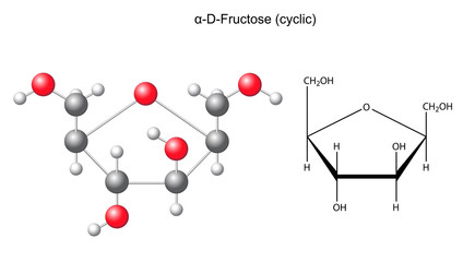Сhemical formula and model of fructose (alpha-D- fructose)