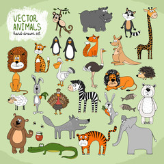Hand-drawn vector wild animals collection