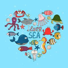 I Love Sea nautical themed design