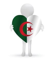 small 3d man holding a Algerian Flag