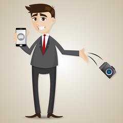 cartoon businessman drop camera and showing camera in smartphone