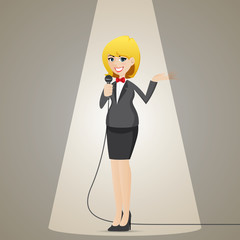 cartoon businesswoman talking with microphone