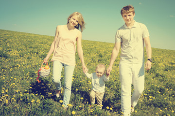 happy family with the son and picnic