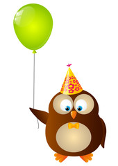 Cute Birthday owl with balloon