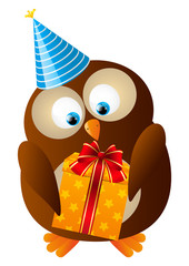 Cute Birthday owl with gift